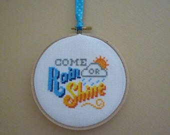 Come Rain or Shine Hand Stitched wall hanging