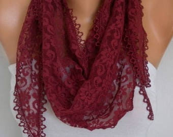 Burgundy Lace Scarf, Summer Fashion,Wedding Shawl,Women Scarves Cowl Scarf Bridesmaid Gift Gift Ideas For Her Women Fashion Accessories