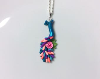 Peacock necklace in turquoise, pink and purple colours handmade from polymer clay