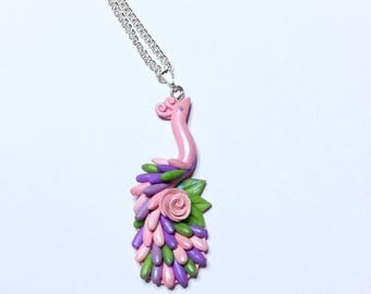 Peacock necklace in pink, green and lilac colours handmade from polymer clay