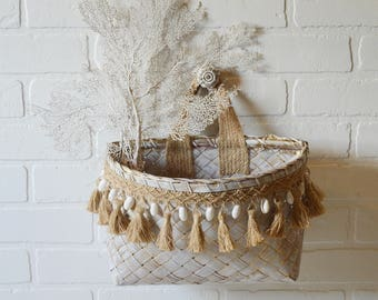 Seashell Basket, Seashell Fringe Basket, Coastal Wicker Basket, Tassel Wicker Basket, Seashell Wicker Basket, Island Bohemian, Boho Basket