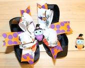 Halloween Owl hair bow, Purple, Orange