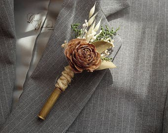 Ships in 5 days ~ Rustic Bullet Casing Boutonniere with Cedar Rose