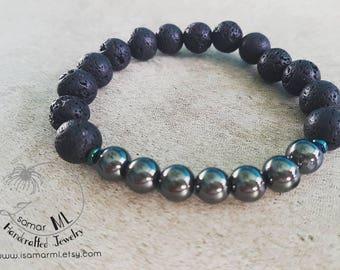 Elegant and Trendy/ Lava Beads and Hematite Stretch Bracelet for Him