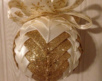 Golden Snowflake Ribbon Ornament