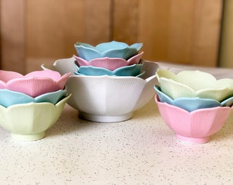 Vintage Lotus Rice Bowl Set, Large Rice Serving Dish and 9 Small Dishes, Pastel Color Dishes, OCM Made in Japan, Mid Century Modern