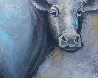 Cow Painting, title Moo – paper print MOUNTED to wood panel, modern farmhouse art, farm art, cow art, cow print