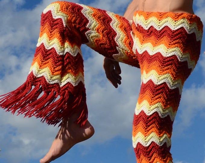 Crochet Pants Long Fringe and Chevrons