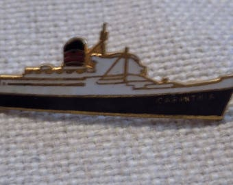 Vintage brooch, Carinthia ship, made in England, Saxonia class ship,1950's brooch, signed Imitation, ocean liner,Claybank ship