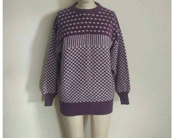 Vintage 80s purple white abstract loose fit sweater
