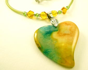 Gemstone Necklace Agate Jewelry Agate Necklace Heart Necklace Heart Jewelry Green Jewelry Beaded Jewelry Beaded Necklace Yellow Jewelry
