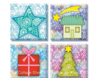 Christmas Images 1x1 inch squares Collage Sheet. Images for scrapbooking and jewelry. Digital Download. Printable graphics for Xmas