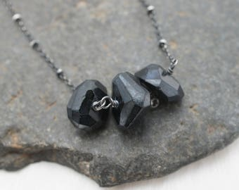 Mystic Black Spinel and Sterling Silver Necklace - Space Nuggets