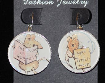 Beatrix Potter Tittle Mouse and Tailor of Gloster Silver Drop Earrings Mice Mouse