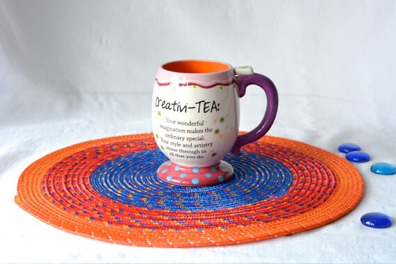 """Patio Place Mat 14"""", Handmade Orange, Red and Blue Table Mat, Summer BBQ Decor, Coiled Place Mat, Nylon Rope Potholder"""