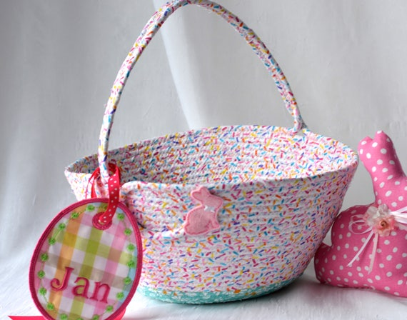 Pink Easter Basket, Pink Flower Girl Basket, Handmade Easter Bucket, Pink Handle Wedding Basket, Baby Girl Pink Easter Bucket