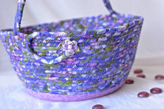 Artisan Easter Basket, Handmade Violet Flower Girl Basket, Lavender Easter Decoration, Easter Handled Basket, Purple Girl Easter Bucket