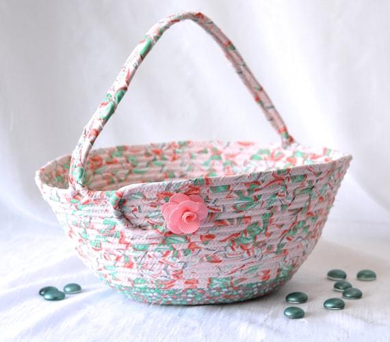 Artisan Easter Basket, Peach Easter Decoration, Girl Easter Buckket, Peach Wedding Card Basket, Baby Girl First Easter Basket, Artisan