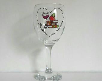 Teacher's holidays, Handpainted wine glass