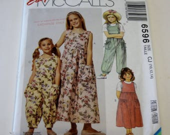McCall's 6596: Children's and Girls' Dress, Jumpsuit Sizes 10,12,14 UNCUT