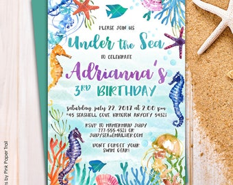 Under the Sea Mermaid Ocean Seahorse Starfish Corals Birthday Party Invitation Pool Party Printable Birthday Invitation