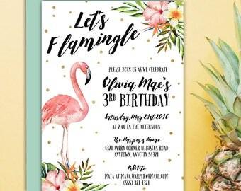 Let's Flamingle Pink Flamingo Birthday Party Invitation, Tropical Flamingo Hibiscus Floral Printable Birthday Invitation