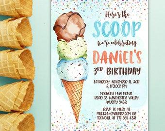 Ice Cream Boy Birthday Invitation, Creamery Sundae Here's the Scoop Ice Cream Party Summer Printable Invitation