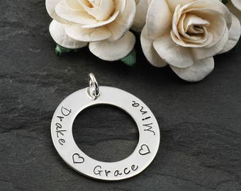 Add a Charm - Double Sided - 1 inch sterling silver washer - Your own words or names