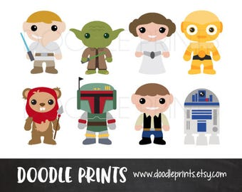 Star Wars Clipart, Digital Clip Art Printable Set, Star Wars Scrapbook Prints, Droids Luke Leia, Disney, Instant Download, PERSONAL USE ONLY