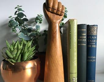 Hand Carved Fist wood Figurine SculptureFig Sign Good Luck