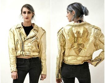 SALE Vintage Gold Leather Jacket Gold Studded Biker Motorcycle Jacket Metallic Large XL with a Eagle Bird By Xpose