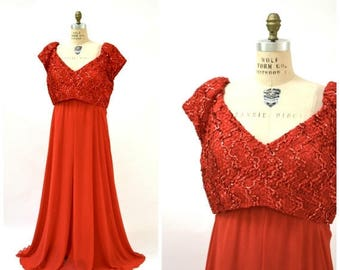SALE Vintage Red Sequin Dress Evening Gown Size 22 XL plus size// Vintage Red Dress Plus Size Party Pageant 80s Prom Dress XL by Alyce Desig