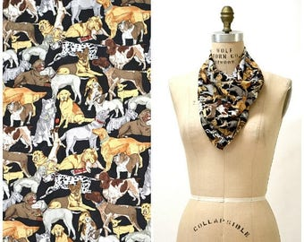 SALE VIntage Dog Scarf Nicole Miller Large Silk Scarf with Dogs by Nicole Miller Lab Dalmatian Pugs Animal Print