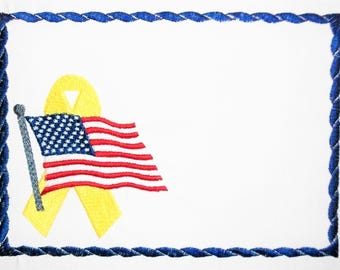 Patriotic Support our Troops US embroidered quilt label to customize with your personal message