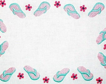 Beach Flip Flops embroidered quilt label, to customize with your personal message