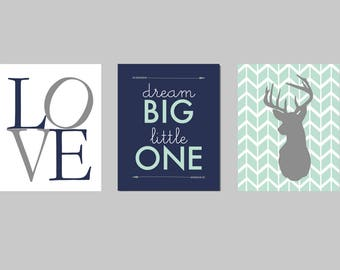 Deer Nursery, Mint and Navy Nursery, Arrows, Woodland, Dream Big,Navy and Mint Nursery, Navy Mint Gray Tribal Aztec Arrow Deer Moose Nursery