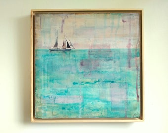 "Mixed Media Original, 12x12"" in 13x13 floating frame, Sailing Sailboat Art, Ocean Painting, Sea Painting, aqua, purple, turquoise, ""Sail"""