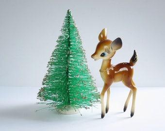 "Vintage 8 1/2 "" Bottle Brush Tree, Table Top Christmas Tree, Kitschy Holiday Christmas Bottle Tree, Flocked Green Tree w Silver Glitter"