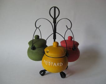 Kitschy cauldron condiment caddy pottery bowls with lids Japan