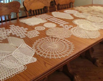 An Array of Vintage Crocheted Doilies in 4 Lots - Great for Sewing, Crafts, and Repurposing - CS20N