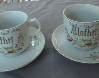 Father Mother Cups and Saucers with Father and Mother in Gold - Vintage Porcelain Hand Painted - 12 ounce Cups - DK30N