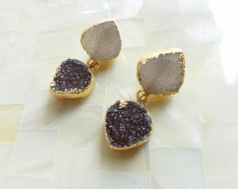 Sparkling Gold Edge Natural Taupe Druzy Posts & Gold Edge Brown Druzy Drop Dangle Earrings (E1283)