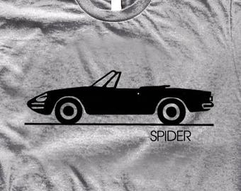 Vintage Alfa Romeo Spider T Shirt. Printed With Black Ink In Minimalist  Style On