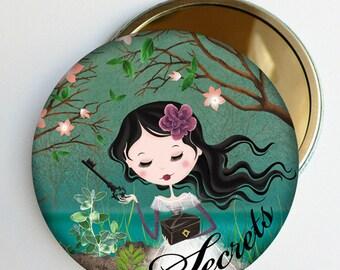 "Mirror bag ""Secrets"" shades of green, girl gift accessory"