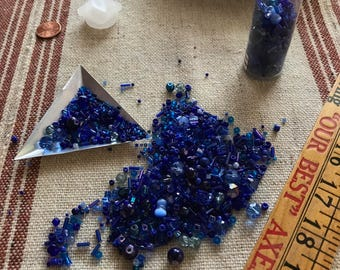 Cobalt Blue Mixed BEAD SOUP,  long tube, Sale Priced
