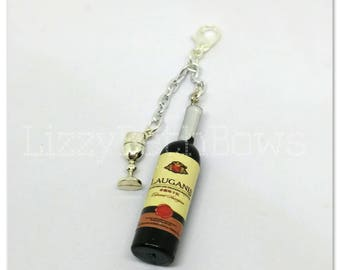 Wine bottle and glass planner charm, purse charm, zipper pull