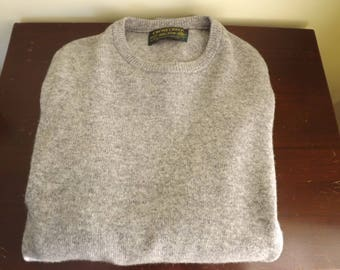 Mens U neck Sweater, Solid Gray Pullover Sweater, Mens Wool Sweater, Vintage Cross Creek Lambswool Sweater, Made in Scotland, Size m 38