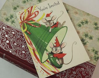 New Years Invitations, 24 Packaged Party Card, New Years Eve Party Invitation Set, Lot vintage mouse Card Invite, Fill in the Blank Card