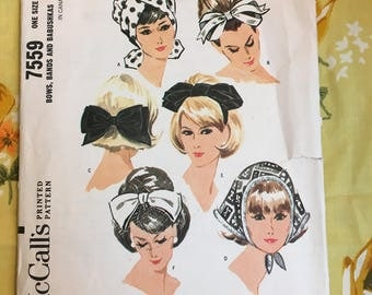 RARE 1964 McCall's Sewing Pattern 7559 Misses Hat Patterns ~ Turban, Babushka, Fashion Bow Hat Uncut- vintage hat pattern, hair bow