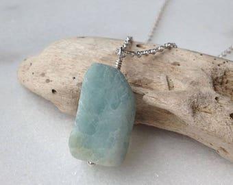 Aquamarine Sterling Silver Necklace Pendant Drop Blue Stone Aqua Light Blue Stone Large Genuine Aquamarine Gemstone March Birthstone